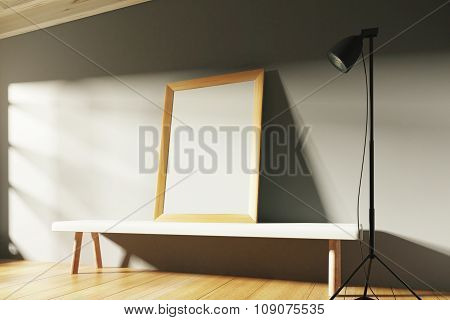 Blank Picture Frame On Wooden Bench At Sunrise, Mock Up
