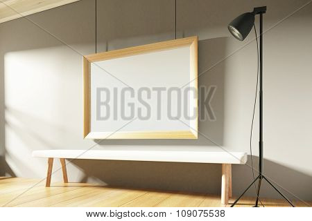Blank Picture Frame In Sunny Empty Room With Wooden Bench, Mock Up