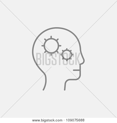 Human head with gear line icon for web, mobile and infographics. Vector dark grey icon isolated on light grey background.