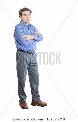 Upset Office Man With Arms Crossing Over His Chest