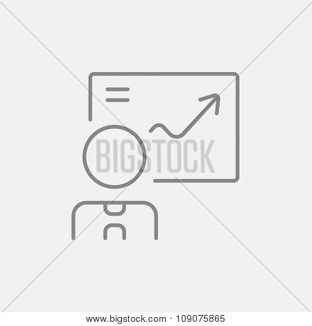 A man presenting his report through infographic line icon for web, mobile and infographics. Vector dark grey icon isolated on light grey background.