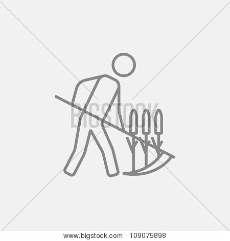 Man mowing grass with a scythe line icon for web, mobile and infographics. Vector dark grey icon isolated on light grey background.