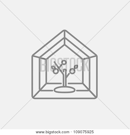 Greenhouse line icon for web, mobile and infographics. Vector dark grey icon isolated on light grey background.