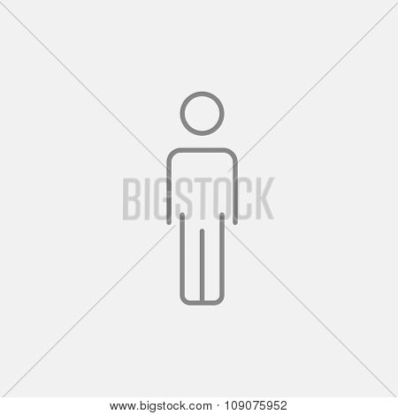 Businessman standing  line icon for web, mobile and infographics. Vector dark grey icon isolated on light grey background.