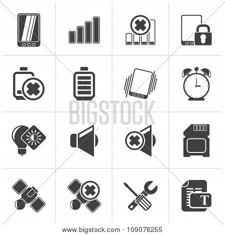 Black Mobile Phone sign icons