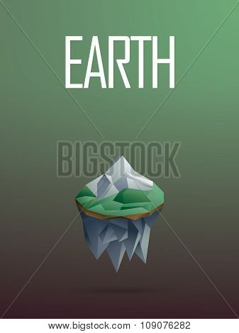 Air element symbol in modern low poly design. Polygonal floating island with a mountain vector sign.