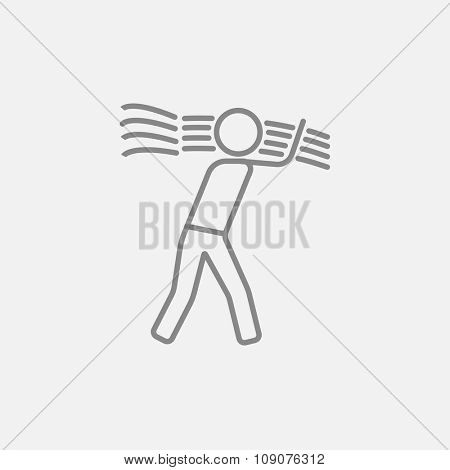 Man carrying wheat line icon for web, mobile and infographics. Vector dark grey icon isolated on light grey background.