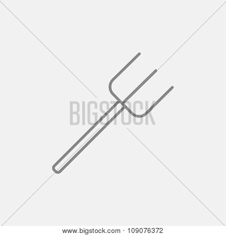 Pitchfork line icon for web, mobile and infographics. Vector dark grey icon isolated on light grey background.