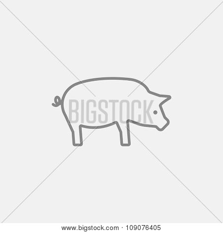 Pig line icon for web, mobile and infographics. Vector dark grey icon isolated on light grey background.
