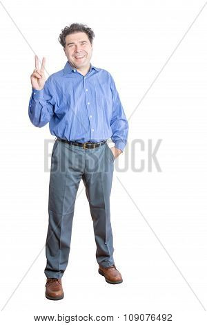 Businessman Showing Peace Hand Sign At The Camera
