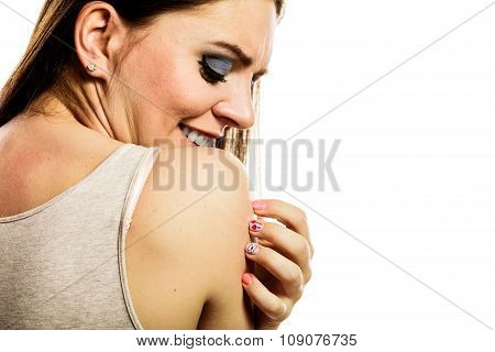 Lovely Woman Smiling Showing Nails Design