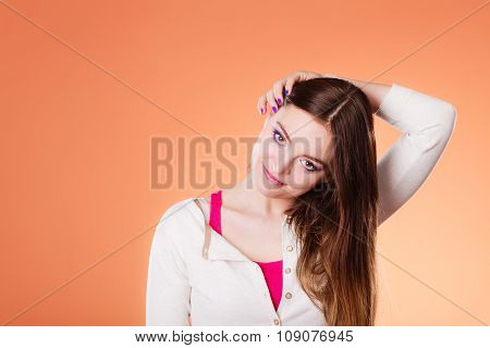 Woman Long Straight Hair Makeup Portrait