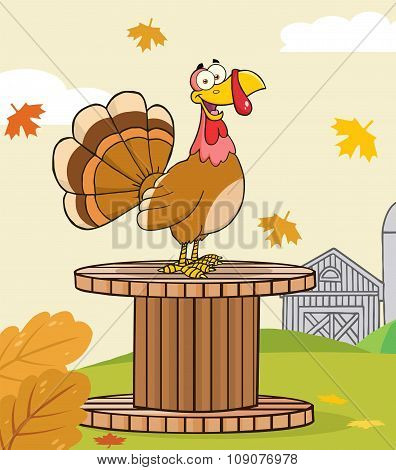 Funny Turkey Bird Cartoon Character On A Giant Spool