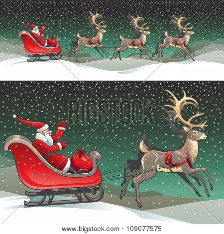Santa Claus sleigh and reindeers