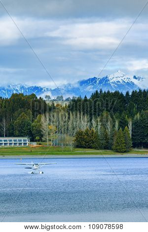 Land Scape And Natural Mountain View Point Of Lake Te Anau South Island New Zealand