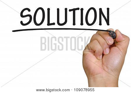 Hand Writing Solution Over Plain White Background