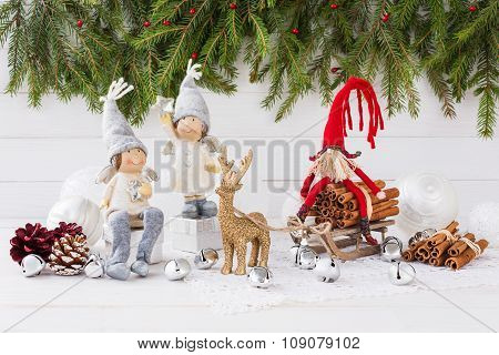 Christmas Composition With Gift Box, Christmas Fir Tree, Angels And Deer. New Year