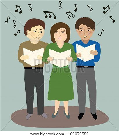 Three People Singing.eps