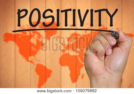 Hand Writing Positivity Over Blur World Background