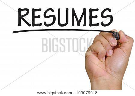 Hand Writing Resumes  Over Plain White Background
