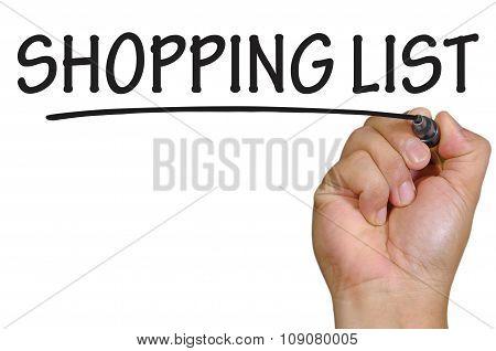 Hand Writing Shopping List Over Plain White Background