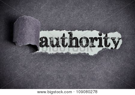 Authority  Word Under Torn Black Sugar Paper