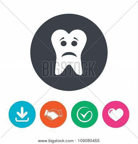 Tooth sad face sign icon. Aching tooth symbol.