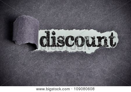 Discount Word Under Torn Black Sugar Paper