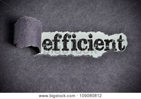 Efficient Word Under Torn Black Sugar Paper