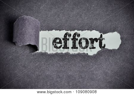 Effort Word Under Torn Black Sugar Paper
