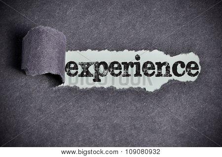 Experience Word Under Torn Black Sugar Paper
