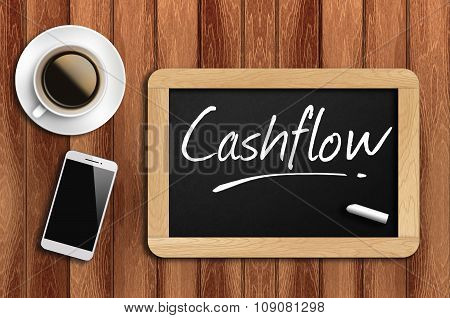 Coffee, Phone  And Chalkboard With  Word Cashflow