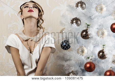 Relaxed Elegant Girl In Xmas Night