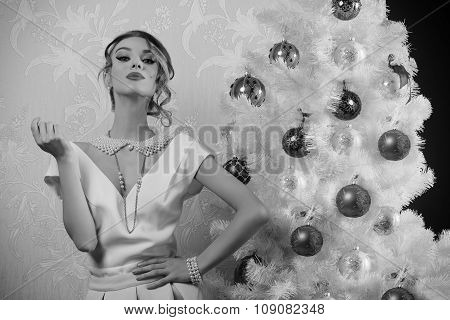 In Black And White Shot Aristocratic Christmas Girl