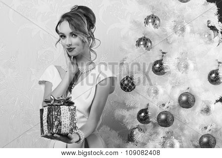 Fashion Woman In Christmas Ambient . In Bw
