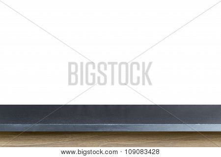 Empty Top Of Black Granite Stone Table Isolated On White Background