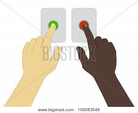 Hands  pressing green and red buttons