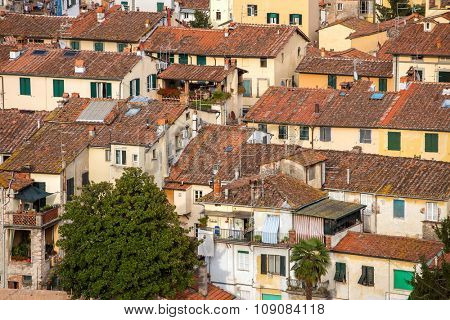 Detail view of traditional Italian town roofs and houses, Lucca, Italy