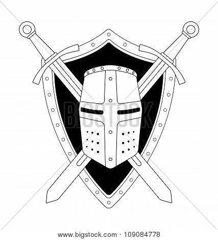 Two crossed swords shield and helmet emblem. Contour