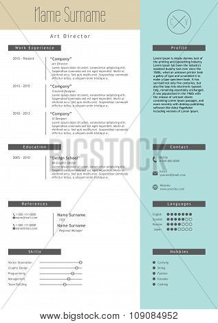 Vector creative resume template. Minimalist style. CV infographic elements.