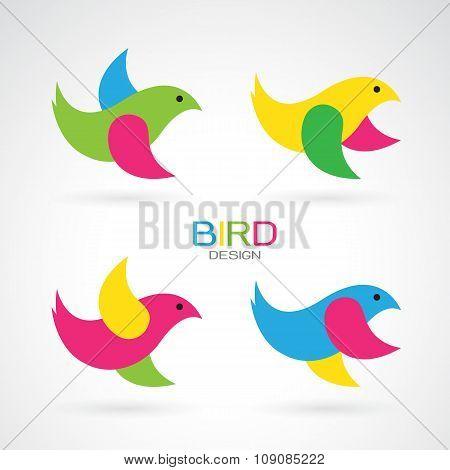 Set Of Vector Bird Design Icons On White Background