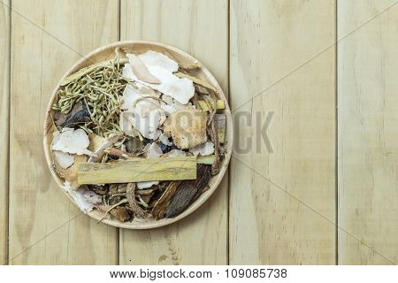 Mix Of Chinese Herbal Medicine In Wooden