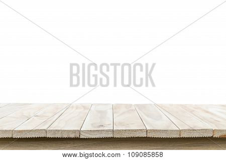 Empty Top Of Wooden Table Or Counter Isolated On White Background