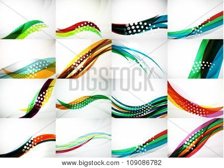 Set of abstract backgrounds, smooth blurred waves, text or message presentation templates. Vector illustration