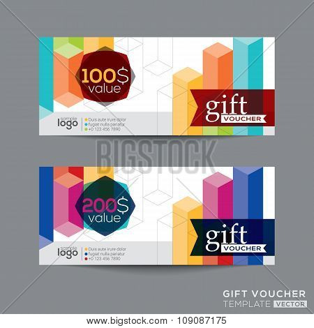 Gift Voucher Coupon Template With Colorful Isometric Shape Pattern