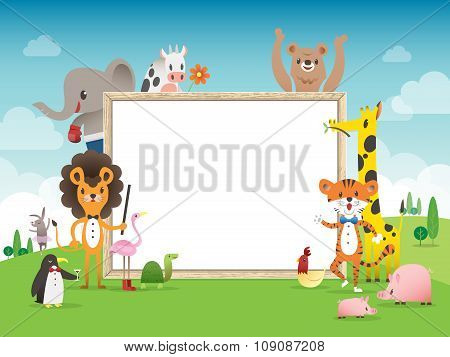 Animal Cartoon Frame Border Template With Whiteboard