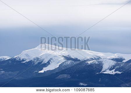 Mountain peak in snow. Winter landscape on a sunny day. Petros Mount, Carpathian, Ukraine, Europe