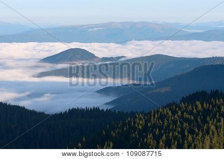 Morning fog. Mountain landscape. Beauty in nature. Carpathians, Ukraine, Europe