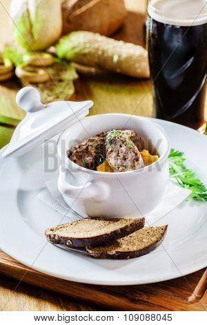 Delicious goulash casserole in a  pot