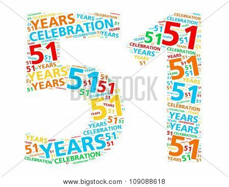 Colorful word cloud for celebrating a 51 year birthday or anniversary